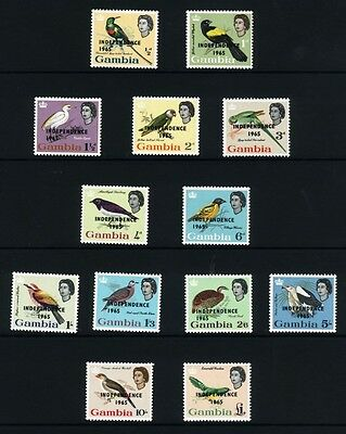 Gambia1965 Birds Independence Definitive set of 13 SG215-27 MNH