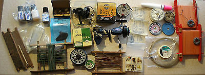 Job Lot Vintage Fishing Reels Line Bait Additives Flies Tackle Etc 31 Pcs