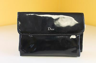 Christian Dior Trousse Pouch Lingerie Make-Up Travel Bag ~ Faux Patent Leather