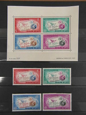 LAOS 1966 letter writing week Set and Mini Sheet SG195-8 MNH