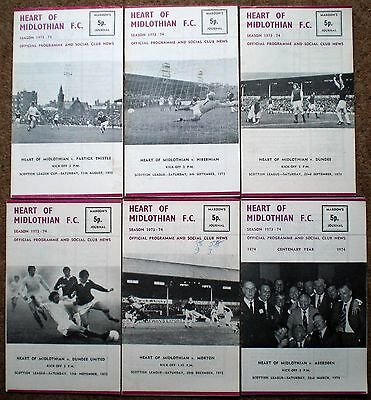 HEARTS FC 1973 1974 HOME FOOTBALL PROGRAMMES COLLECTION Heart of Midlothian Rare