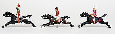 3 x VINTAGE GALLOPING HORSE MOUNTED LEAD SOLDIERS  UNKNOWN MAKER, MOVABLE HEADS