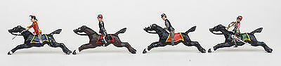 4 x VINTAGE GALLOPING HORSE MOUNTED LEAD SOLDIERS  UNKNOWN MAKER, MOVABLE HEADS