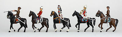 5 x VINTAGE HORSE MOUNTED LEAD SOLDIERS, INTERCHANGEABLE HEADS,  NO NAME