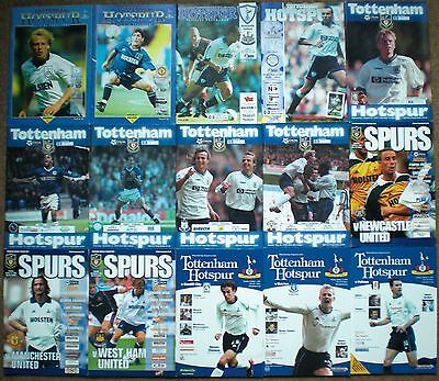 TOTTENHAM HOTSPUR FC 1994 to 2003 HOME FOOTBALL PROGRAMME COLLECTION Spurs THFC