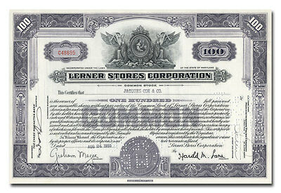 Lerner Stores Corporation Stock Certificate