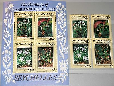 SEYCHELLES  1983  Flowers M. North Paintings set and Mini Sheet SG3687-71 MNH