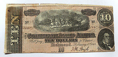 1864 $10 Dollar  Confederate States Currency  Civil War Note  T-68 FINE