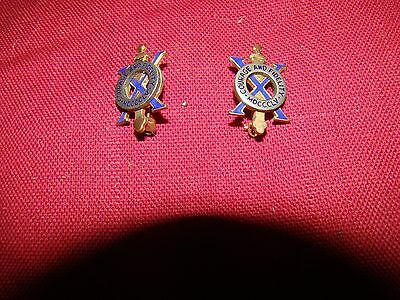 2 WW I 1 10th Infantry lapel pins badges COURAGE & FIDELITY N.S. MEYERS NYC VGC