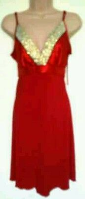 Pretty Women Red Gold Sequin Cocktail Party Evening Tunic Dress Size 12