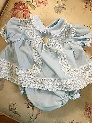 Blue with Lace Baby Dress and Panties Size 6-9 Months