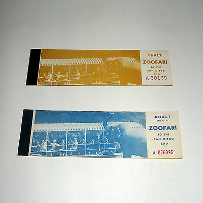 Set Of 2 Vintage Blue & Gold San Diego Zoo 1960's Ticket Booklet Zoofari Skyfari