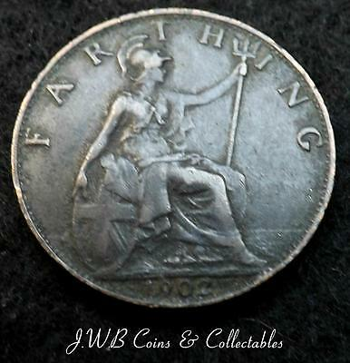 1902 Edward VII Farthing Coin Great Britain - Ref; T/M