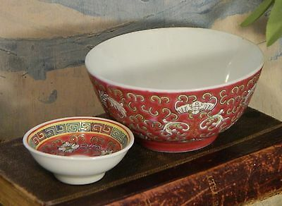 Vintage/Bowls/Chinese/Asian/Longevity Design/Red/Pink/Soup/Rice/Sauce/Dish/ 2