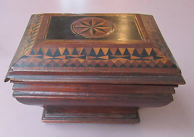 Antique Wooden Tea Caddy Box w/Inlay Marquetry Mahogany Rosewood