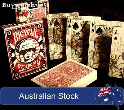 Escape Map Playing Cards Premium Poker Deck Bicycle Brand New WWII Soldier Map
