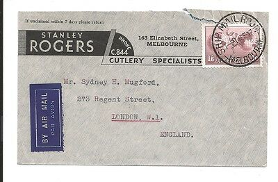 stanley rodgers cutlery 1937 postal cover melbourne ship mail room and airmail