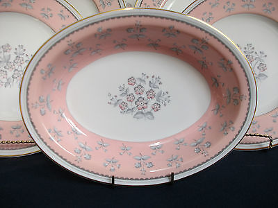 WEDGWOOD PINK PIMPERNEL W3652 (c1962+) OVAL SERVING BOWL- EXCELLENT! MINT! GILT!