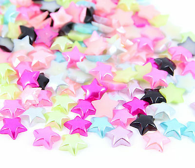 50pcs Approx. Faux Pearl STARS Embellishments Flat Back Mixed Colours Crafts