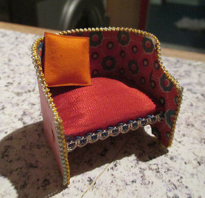 vintage* SILK UPHOLSTERED ARMCHAIR - made in JAPAN - 16th / LUNDBY scale