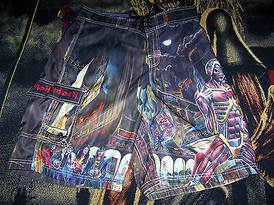 Vintage Iron Maiden SOMEWHERE IN TIME Dragonfly Swim Suit Trunks Board Shorts 30