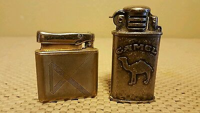 Vintage Camel Silver Trench Cigarette Lighter & Cotton Brand Monopol Tobacciana