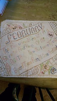 VINTAGE Handmade PILLOW Cover w/EMBROIDERY February Birthday Valentine Gift RARE
