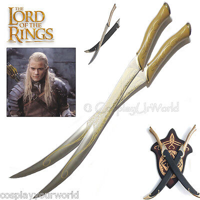 LOTR Lord of the Rings Legolas Elven Swords w. Wooden Plaque Wall Hanger Display