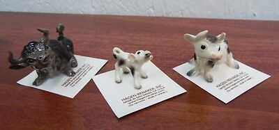 Hagen Renaker Cow Set of 3 Bull,Spotted Cow, Calf Figurine Ceramic Miniature