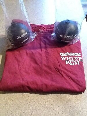 Lot of 2 NEW Captain Morgan Cannonball Plastic Cups & White Rum T-Shirt XL