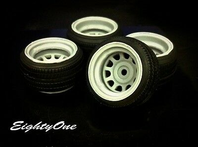 "Factory81 RM020 1/24 16"" Diamond Racing Steelies Rim (D-holes) 4 Wheels w/Tyres"