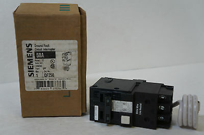 Siemens QF250 50 Amp Double Pole Type QPF GFCI Circuit Breaker