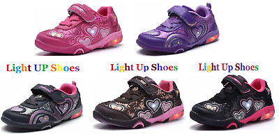 "New Baby Toddler Girls ""Light Up"" LED Shoes Casual Walking Slip On Sneakers"