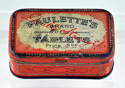 Vintage Antique Paulette's Brand Double Strength Tablets Tin Medical Advertising
