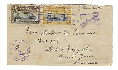 1940 El Salvador To Canal Zone Airmail Cover (#D31)