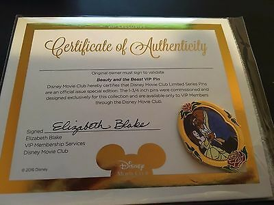 Brand New Disney Limited Edition Beauty And The Beast Vip Pin! With Certificate