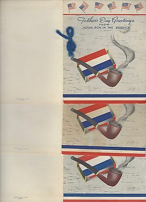 Lot of 3 World War II Father's Day Greetings From Your Son in the Service Unused