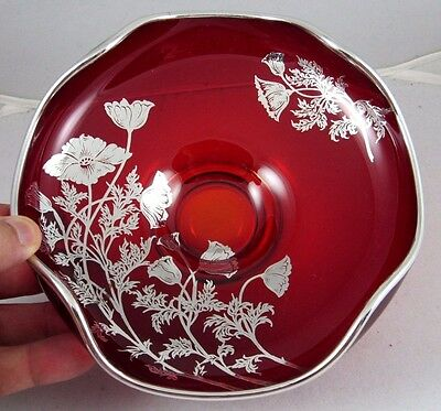 New Martinsville Sterling Silver Overlay Ruby Red Glass Bowl-Dish,Floral Poppy