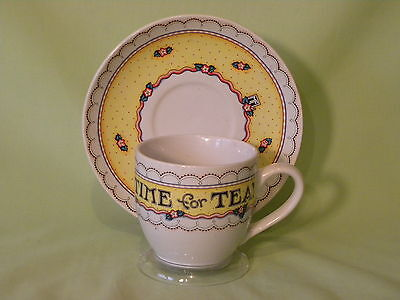 """Vintage Mary Engelbreit Cup And Saucer """"time For Tea"""" Andrews Mcmeel Publishing"""