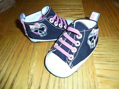 Perfect  Baby Girl's Black and Pink Shoes Size 3-6 Months Sweet DEAL
