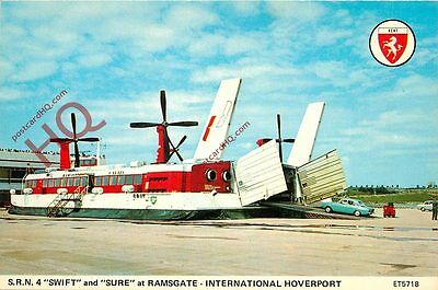 """Postcard: S.R.N.4. """"Swift"""" And """"Sure"""" Hovercraft At Ramsgate Hoverport"""