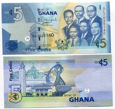 Ghana 5 Cedis 2014 P 38 New Sign Unc