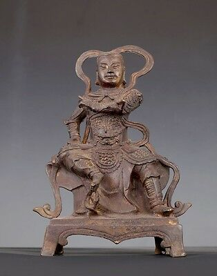 Very Rare Old Heavy Chinese Bronze Battle Buddha Sitting Statue AA031