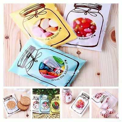 Cute 100Pcs Cellophane Wedding Party Sweet Candy Gift Craft Bags Bottle Design