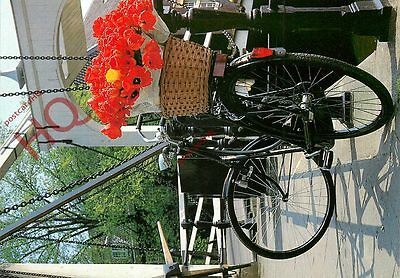Postcard: BICYCLE, WITH BASKET OF TULIPS [ART UNLIMITED]
