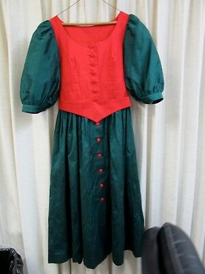 Dirndl dress, Bavarian Red & Green, Silk size 44 - 12-14 Belt, covered buttons