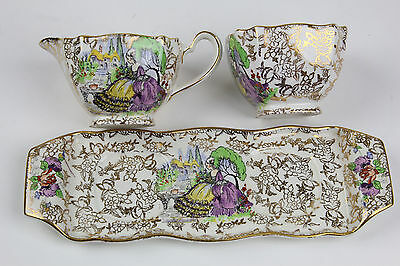 "BCM Lord Nelson Ware ""Lavender Lady"" POMPADOUR Cream Sugar Bowl & Tray England"