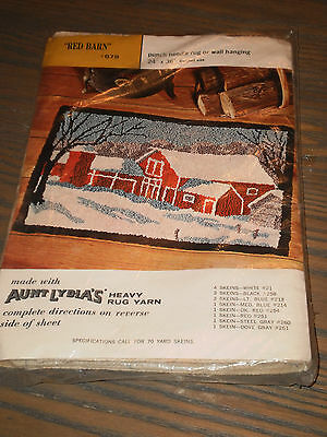 Vintage crafts punch needle rug Red Barn #678 rug making pattern 24 by 36 inches