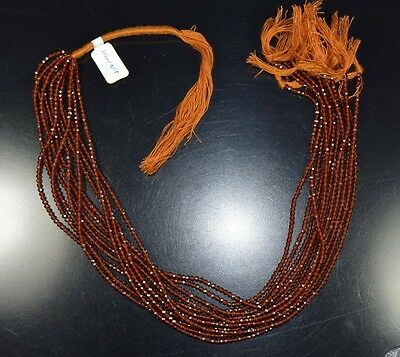 "2 Mm 13 "" 100%  Natural   1 Line  Hessonite Garnet  Untreated Beads Strand"