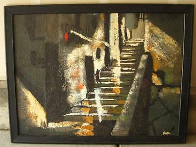 Vintage Mid Century Modern Abstract Painting Oil Signed Anto